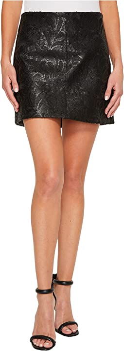 Blank NYC - Vegan Leather Skirt with Sequin and Embroidery in Hide and Sequin