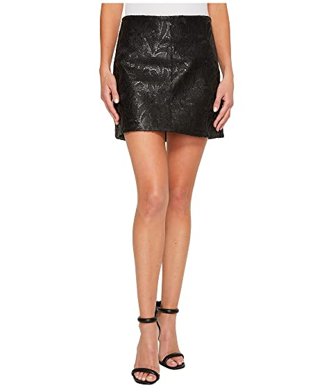 Blank Nyc Vegan Leather Skirt With Sequin And Embroidery In Hide And