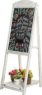MyGift 45-Inch Vintage Whitewashed Wood A-Frame Sidewalk Menu Chalkboard Sign with Display Shelf