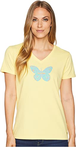 Life is Good Mosaic Butterfly Crusher Vee Tee