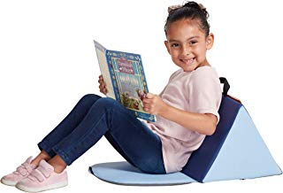 ECR4Kids 6-Pack SoftZone Carry Me Soft Seat with Storage Book Pocket and Handle - Portable Folding Seat/Reading Cushion for Kids and Toddlers, Navy/Powder Blue