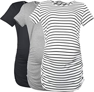 Smallshow Women's Maternity Shirt Side Ruched Tunic Pregnancy Top Clothes 3-Pack