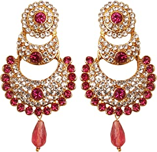 Indian bollywood crystals Chand bali designer jewelry earrings in gold tone for women