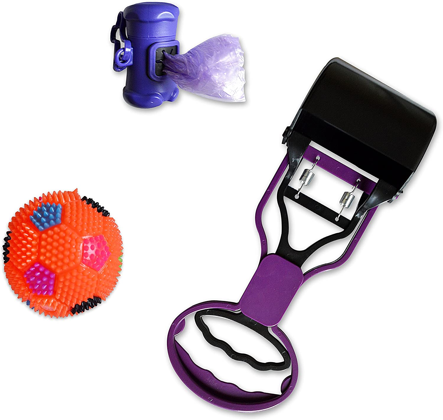 New PawsForce Portable Jaw Clamp Pooper Scooper Set with Poop Bag Holder and 30 Waste Bags, Draw String Backpack and Bonus LED Dog Ball, for Small and Medium Dogs