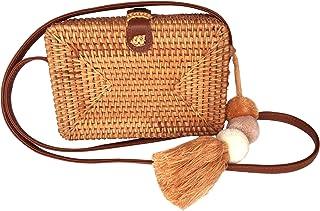 Straw Rattan Crossbody Bag for Women | Bali Ata Woven Wicker Purse for Summer Beach