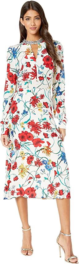 Silk Wildflowers Midi Dress
