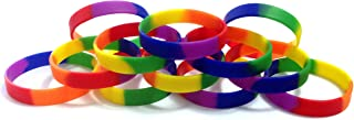 TheAwristocrat 1 Dozen Multi-Pack Rainbow (Blank) Wristbands Silicone Rubber Bracelets