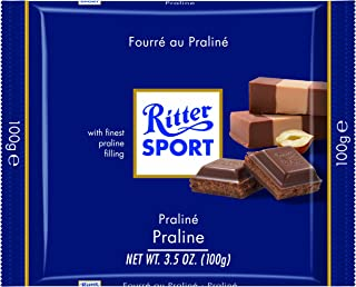 Ritter Sport, Milk Chocolate with Nougat Praline Filling, 3.5-Ounce Bars (Pack of 13)