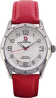 Swiss Mountaineer Ladies Swiss Watch Red Leather Band White MOP Dial Easy Read Reloj SML8051