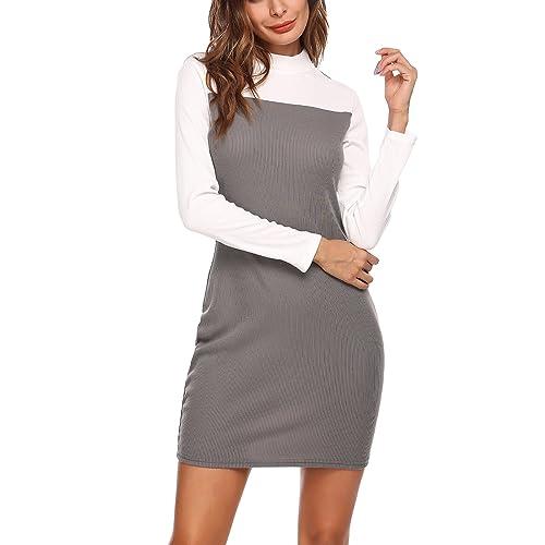 74de98e2ed0 ELESOL Women s Colorblock Stripe Long Sleeve Cotton Knit Sweater Shift Dress