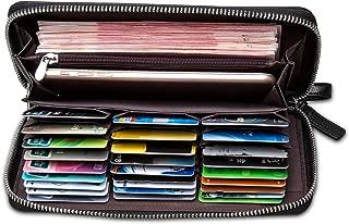 BISON DENIM Mens Credit Card Wallet Long Wallet Genuine Leather Billfold Zip Around Checkbook Wallet 27 Credit Card Slots