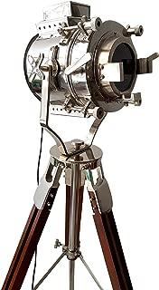 Vintage Modern Collectible Chrome Searchlight Home Black Screw Tripod Nautical Spotlights (Low Floor Lamp)