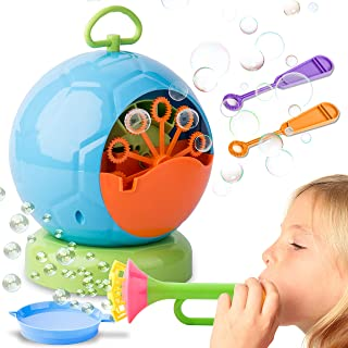 Original Automatic Bubble Blower Machine for Birthday Party, Fun Outdoor Activities, Weddings - Non-Toxic, Plastic, Portable - High Output Machine + Bonus Wands & Dip Tray by Duddy
