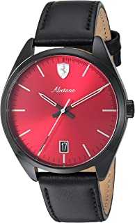 Ferrari Men's 'Abetone' Quartz Stainless Steel and Leather Casual Watch, Color Black (Model: 0830499)