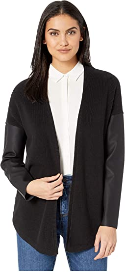 Cardigan with Pleather Sleeves