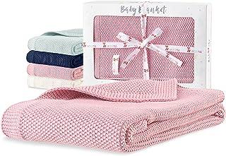 Sweety Fox - Babyfilt pojke och flicka 80 x 100 cm - 100 % ekologisk bomull - rosa barnfilt - perfekt babyaccessoar - gans...