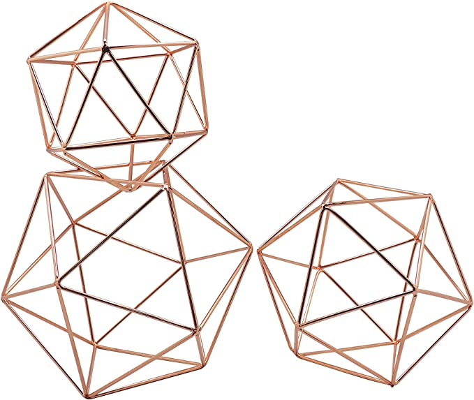 Amazon Com Koyal Wholesale Geometric Decor Shapes Set Of 3 Assorted Sizes For Table Centerpiece Flower Holders Rose Gold 3d Hanging Decorations Himmelis Prisms Home Kitchen