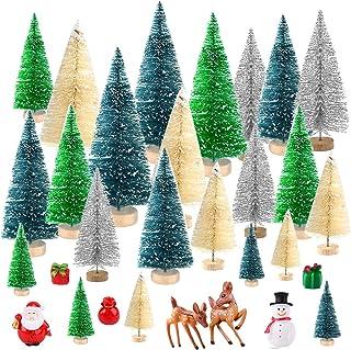 comprar comparacion KUUQA 29 Piezas Mini Botella Cepillo árbol sisal Nieve Escarcha árbol, Invierno Adorno de Nieve con Personaje en Miniatura...