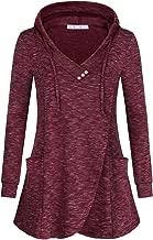 JOYMOM Womens Fashion V Neck Long Sleeve Sweatshirt Hooded T-Shirt with Pockets