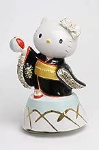 取寄品:1週間前後 和装 ハローキティ 陶製レース人形 オルゴール SR-2403B(黒) 【 陶器 人形 】