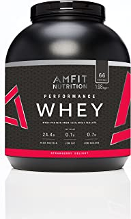 Marca Amazon - Amfit Nutrition Performance Proteína Whey de suero de leche (100% aislados de suero de leche), sabor fresa, 66 porciones 1980 g