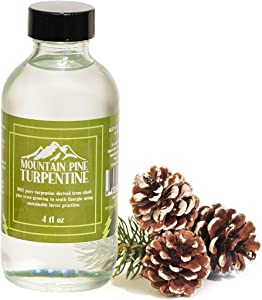 Mountain Pine 100% Pure Gum Spirits of Turpentine – Pure Turpentine Oil Paint Thinner Extracted from Raw Pine Gum – Locally Harvested & Bottled – Made in The USA – Pure Pine Gum Turpentine – 4 Ounces
