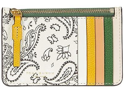 Tory Burch Perry Printed Top Zip Card Case (Ivory Americana Bandana) Handbags