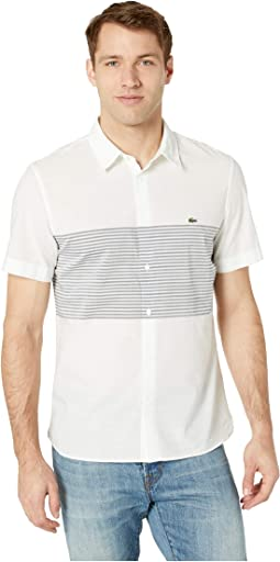 Short Sleeve Engineering Stripes Poplin Cotton/Linen Casual No Button Down Collar Slim Fit
