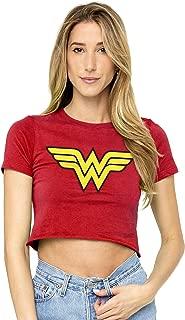 Wonder Woman Logo Juniors Teen Girls Crop Top T Shirt & Stickers