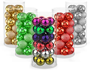 """Beanlieve Christmas Tree Balls Decorations - 24PCS Xmas Tree Balls, 1.6inch Shatterproof Christmas Balls, Use for Christmas Thanksgiving Wedding Party Office Square Decorations (1.6"""", Mixed 6 Colors)"""