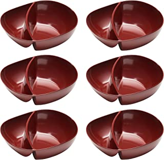 Zak Designs Moso 7-inch Portion Control Divided Bowls, Red, 6 piece set