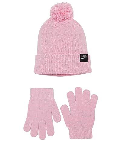 Nike Kids Pom Beanie and Gloves Two-Piece Set (Big Kids) (Pink) Snowboard Gloves