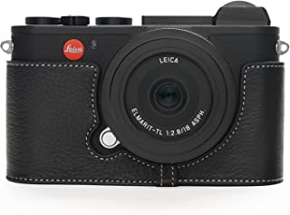 Leica CL Case, BolinUS Handmade Genuine Real Leather Half Camera Case Bag Cover for Leica CL Camera Bottom Opening Version + Hand Strap -Black