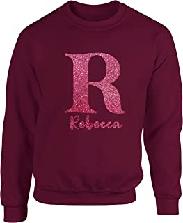 Hippowarehouse Personalised Name Initial - Glitter Unisex Jumper Sweatshirt Pullover (Specific Size Guide in Description)