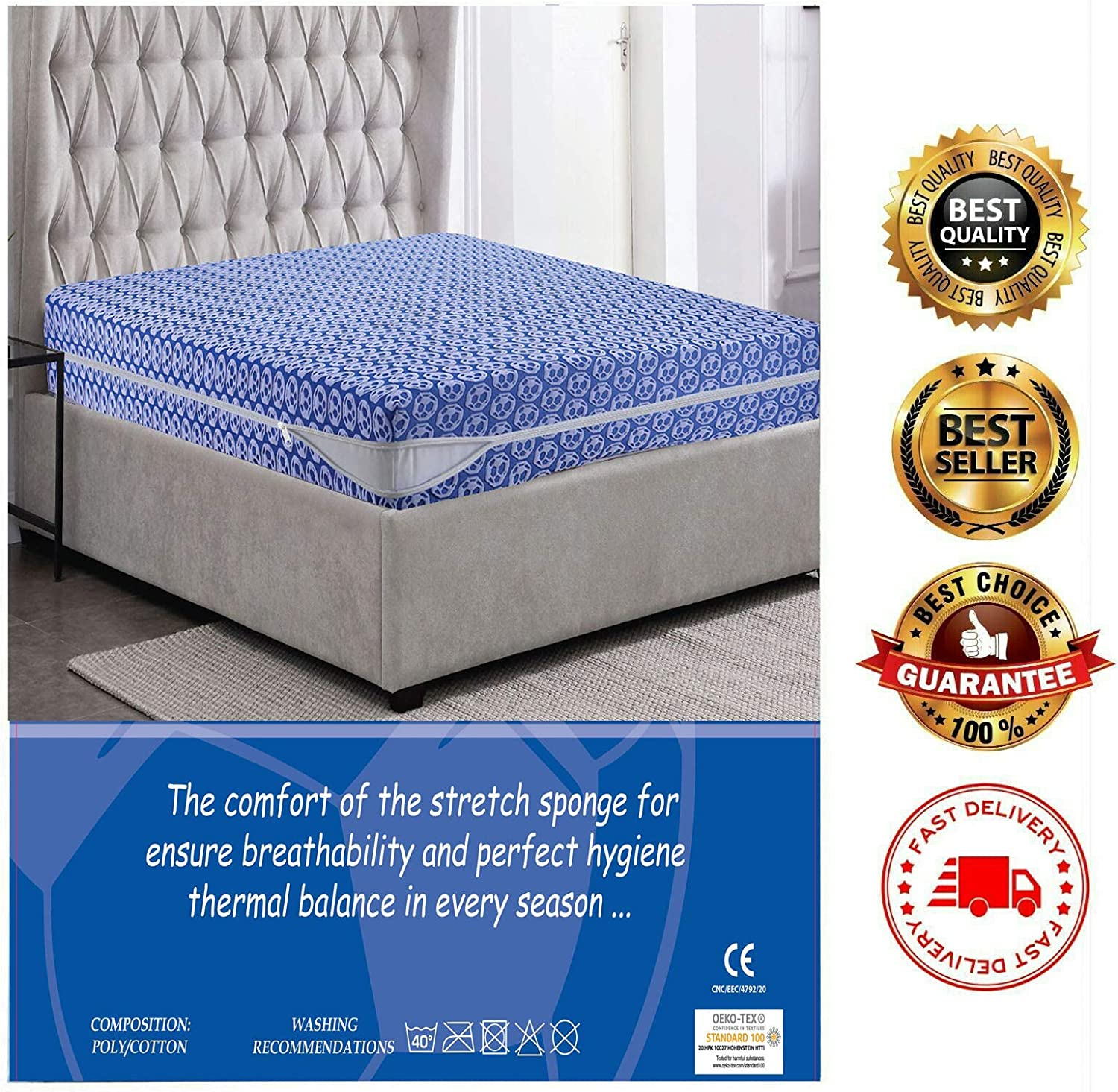 HEAVY DUTY MIA we dress your home LUXURY ANTI BED BUG MATTRESS PROTECTOR ZIPPER COVER 30cm DEEP SKIRT SWEAT PROOF ANTI-ALLERGIC ENCASEMENT DOUBLE SIZE 138 X 190//200 ELASTICATED