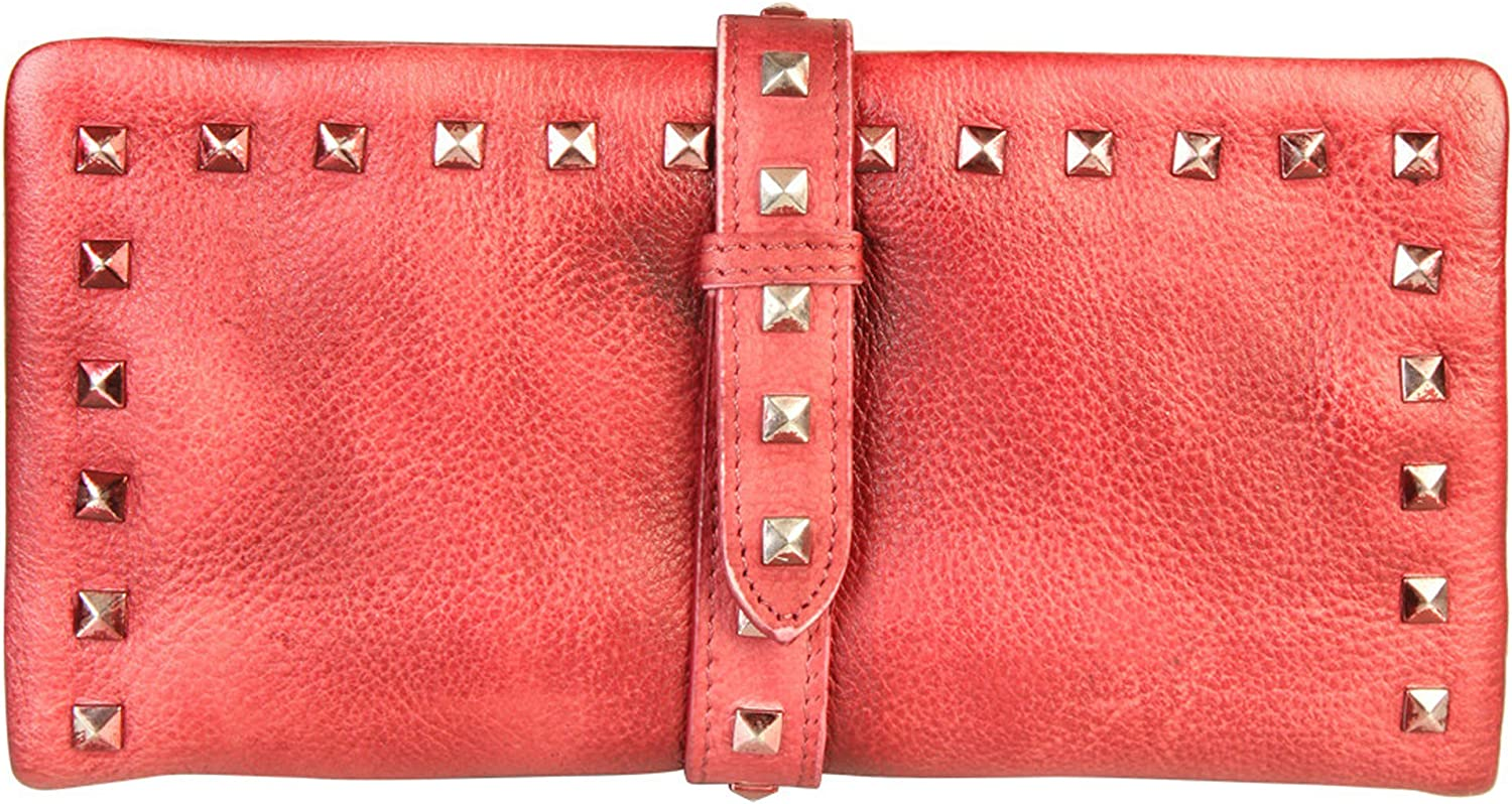 Diophy Genuine Leather Stylish Studded Card Holder Wallet 8169 Red