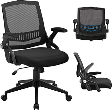 SAMOFU Office Chair, Ergonomic Mid-Back Desk Chair, Mesh Computer Task Chair with Flip-up Armrests and Lumbar Support & T