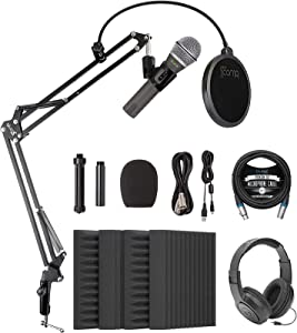 Samson Q2U USB XLR Dynamic Microphone for Recording & Podcasting on Windows and Mac Bundle with Blucoil 4x 12
