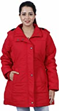 HIVER Women's Nylon Red Full-Sleeved Winter Jacket Water Proof with Hood for Minus Degree