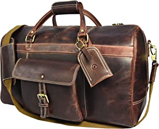 Aaron Leather 20 inch Full Grain Leather Weekender Duffle Bag (Walnut)