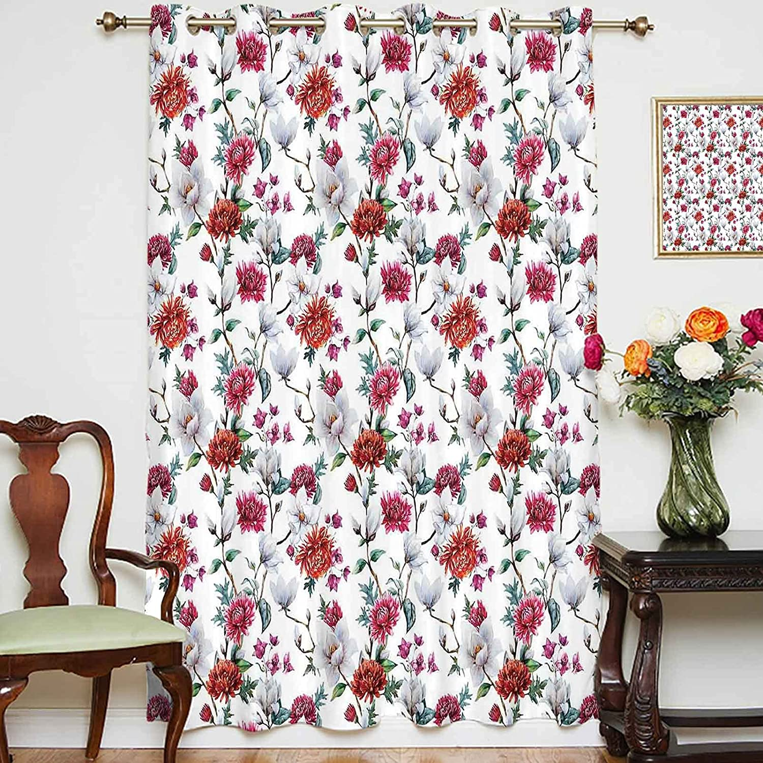 oobon Blackout 2021new shipping free Shading Curtains Romantic Chrysanths It is very popular Magnolia and