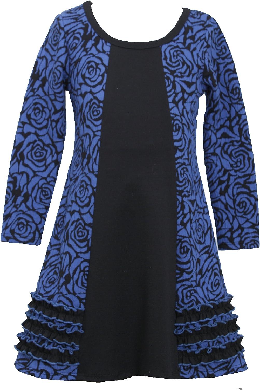 Bonnie Jean Little Girls 4-6X Royal-Blue Floral Jacquard Colorblock Knit Dress