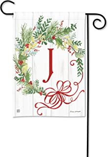 BreezeArt Studio M Winterberry Monogram J Garden Flag - Premium Quality, 12.5 x 18 Inches