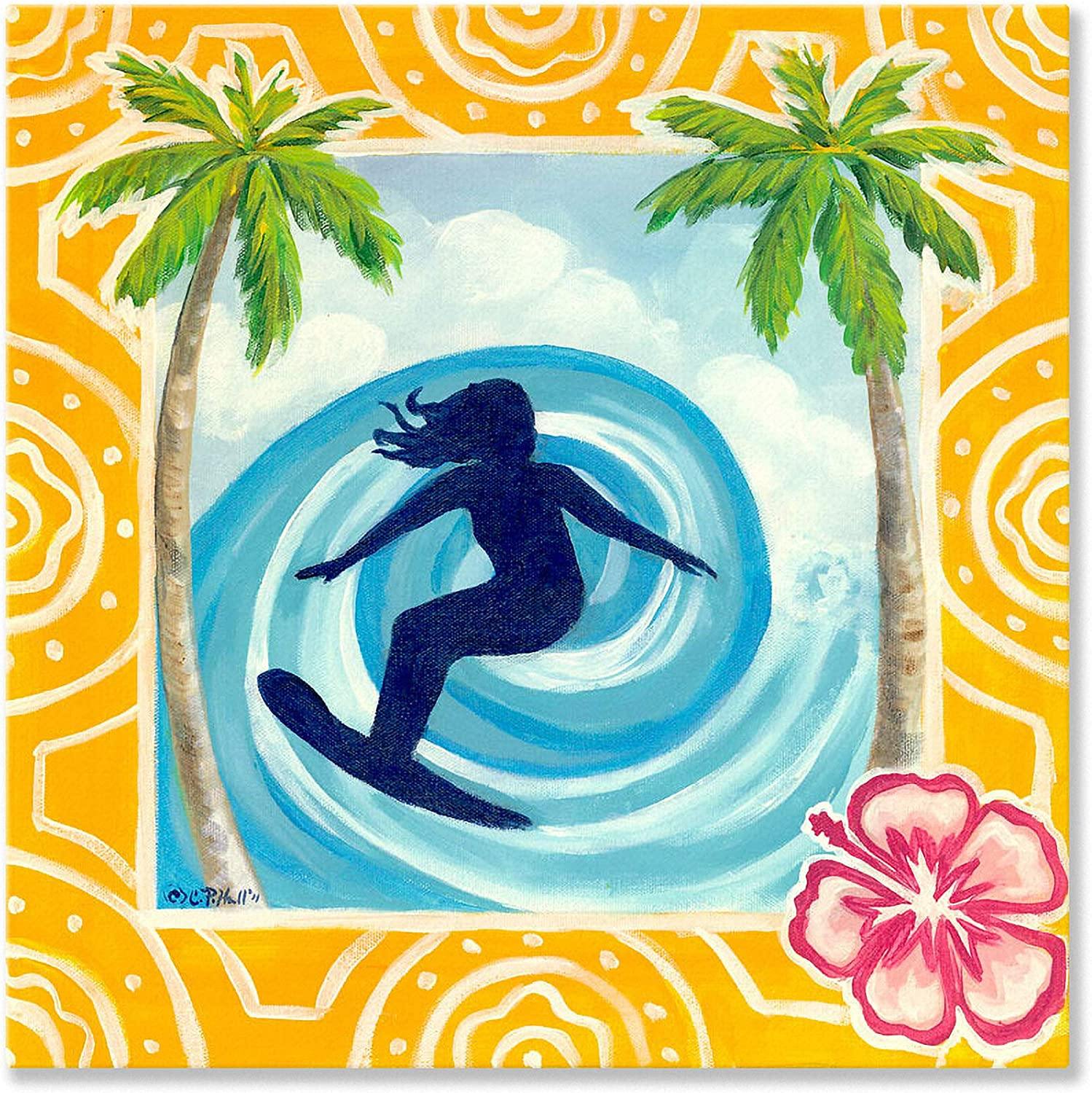 Oopsy Daisy Fine Art for Kids Surfing the Barrel Stretched Canvas Art by Colleen Phelon Hall, 18 by 18Inch
