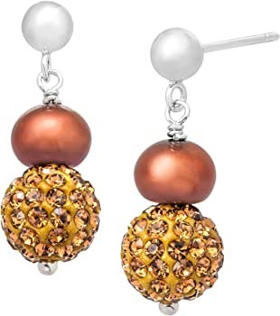 Finecraft Pearl Drop Earrings With Swarovski Crystals