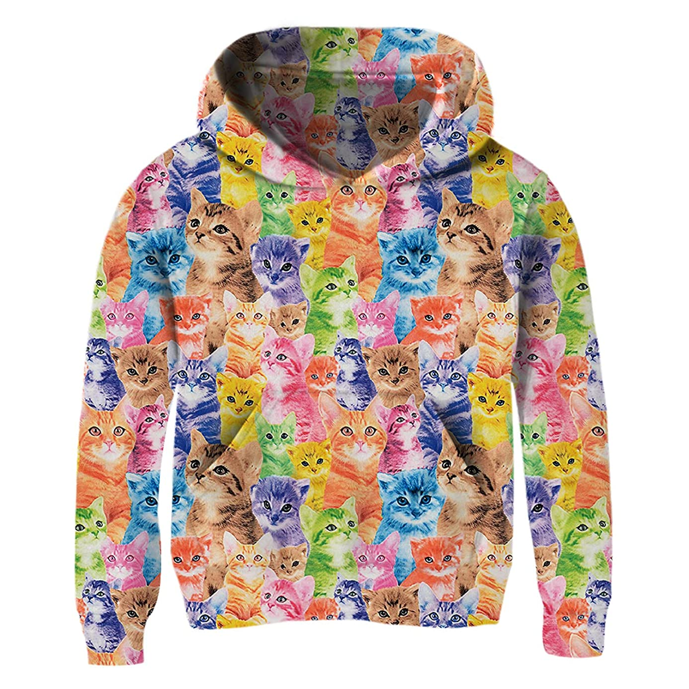 BFUSTYLE Little Girls 3D Print Pullover Hoodies with Pocket Hooded Sweatshirt Size 4-14