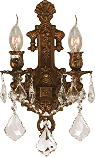 Worldwide Lighting Versailles Collection 2 Light French Gold Finish Crystal Wall Sconce 12