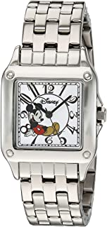 Disney Women's Mickey Mouse Analog-Quartz Watch with Stainless-Steel Strap, Silver, 18 (Model: 51107-3-A-1)