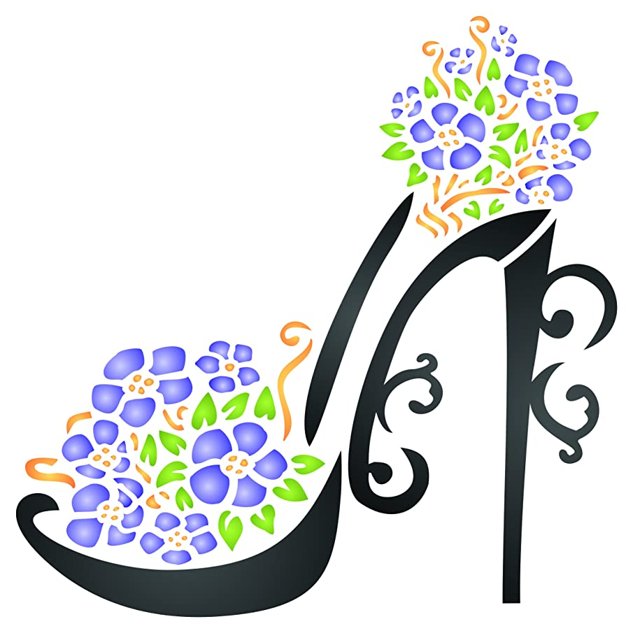 High Heel Shoe Stencil - 8.5 x 8.5 inch (L) - Reusable Decorative Flower Stiletto Platform Shoes Wall Stencil Template - Use on Paper Projects Scrapbook Journal Floors Fabric Furniture Glass Wood etc.