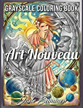 Art Nouveau Grayscale: An Adult Coloring Book with Fantasy Women, Mythical Creatures, and Detailed Designs for Relaxation